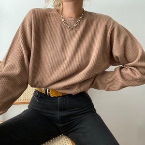 Vintage Ribbed Slouchy Pullover Sweater